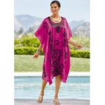 Cerise 'n Swirls Print Silky Short Caftan by EY Signature