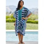 True Blue Print Silky Short Caftan by EY Signature