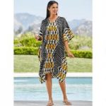 Contempo Print Silky Short Caftan by EY Signature