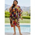 Wild Multi Print Silky Short Caftan by EY Signature