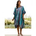 Chill Out Print Silky Short Caftan by EY Signature