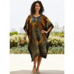 Leopardess Print Silky Short Caftan by EY Signature