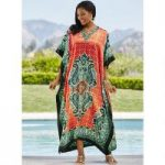 Shangri-La Print Silky Long Caftan by EY Signature