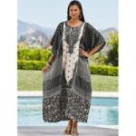 Casablanca Print Silky Long Caftan by EY Signature