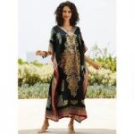 Hypnotic Print Silky Long Caftan by EY Signature