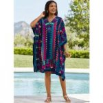 Taos Print Microfiber Short Caftan by EY Signature