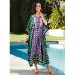 Mixed Mosaic Print Microfiber Long Caftan by EY Signature