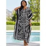 Diamante Print Microfiber Long Caftan by EY Signature