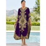 Sultana Print Microfiber Long Caftan by EY Signature