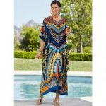 Acapulco Print Microfiber Long Caftan by EY Signature