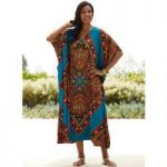 Bazaar Print Microfiber Long Caftan by EY Signature