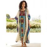 Chic Chevron Print Microfiber Long Caftan by EY Signature