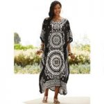 Full Circle Print Microfiber Long Caftan by EY Signature