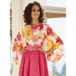 Floral Print Dramatic-Sleeve Top by Studio EY