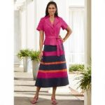 Solid 'n' Stripes Skirt Set by EY Signature