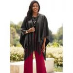 Faux-Leather Fringed Shawl by Studio EY