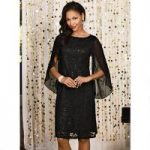 Sequined Lace and Chiffon Dress by Studio EY