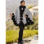 Color Closeout Faux-Fur Trimmed Houndstooth Cape by Luxe EY