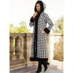 Houndstooth Luxe-Trim Coat by Luxe EY