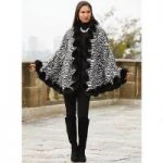 Faux-Fur Trim Zebra Cape by Luxe EY